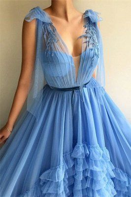 Tulle Deep V-Neck Blue Sexy Evening Dress UK | Cheap Sleeveless Layers Long Prom Dress with Sash_2