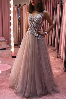 Appliques Beaded Sheer Bodice Evening Dress UK | Sexy Sleeveless Straps Long Prom Dresses_1