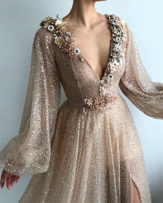Sparkling Sequins Long Sleeve Prom Dress |  Sexy Slit Long Cheap Evening Dress UK_2