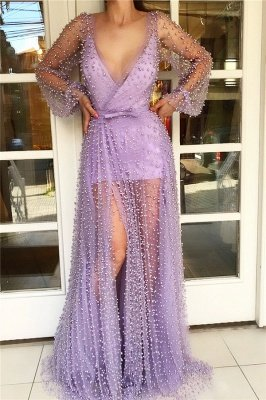 Long Sleeve Prom Dress with Sheer Skirt   Stylish Tulle Pink Long Evening Dress with Pearls_1