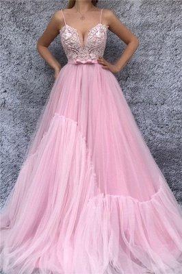 Spaghetti Straps V-Neck Pink Evening Dress UK   Sexy Lace Bodice  Long Prom Dress with Sash_1
