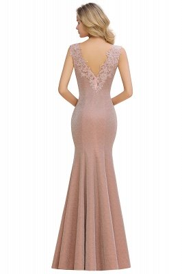 Sparkly V-neck Sexy Evening Dress UK | Flowers Sleeveless Pink Floor Length Formal Dresses_8