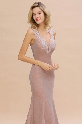 Sparkly V-neck Sexy Evening Dress UK | Flowers Sleeveless Pink Floor Length Formal Dresses_16