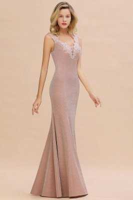 Sparkly V-neck Sexy Evening Dress UK | Flowers Sleeveless Pink Floor Length Formal Dresses_13