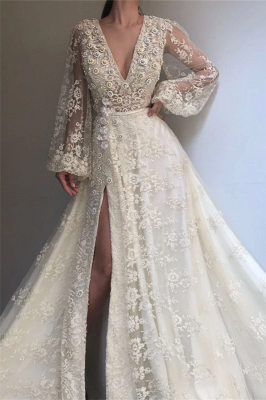 Sexy Tulle Lace Beaded Long Sleeve Prom Dress |  V-Neck Beaded Slit Evening Dress UK_1