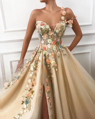 Cheap One Shoulder Straps Tulle Prom Dress |  Sweetheart Sexy Slit Appliques Flowers Evening Dress UK_2