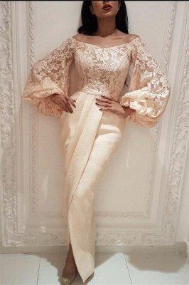 Elegant Lace Off the Shoulder Long Evening Dress UK |  Long Sleeve Sexy Slit Mermaid Prom Dress_1