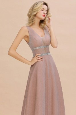 Sparkly Long Evening Dress with Shining Belt | Sexy Sleeveless Pink Formal Dress Cheap_10