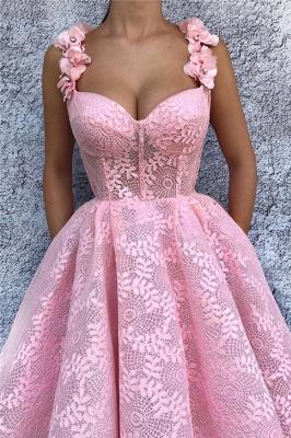 Sexy Lace Sweetheart Pink Prom Dress | Stylish Flower Straps Sleeveless Long Evening Dress UK_2