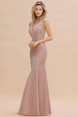 Sparkly V-neck Sexy Evening Dress UK | Flowers Sleeveless Pink Floor Length Formal Dresses_14