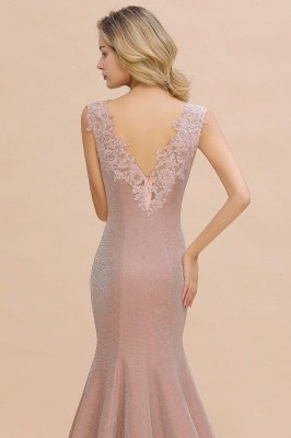 Sparkly V-neck Sexy Evening Dress UK | Flowers Sleeveless Pink Floor Length Formal Dresses_9