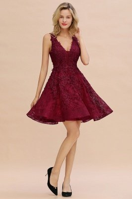 Knee Length Lace Appliques Homecoming Dresses | Burgundy Short Evening Dresses UK_19