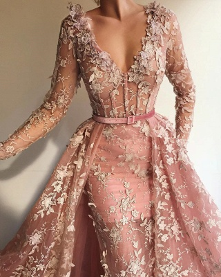 Sheer Tulle Pink Long Sleeve Prom Dress Cheap Online| Sexy Mermaid Appliques Evening Dress UK_2
