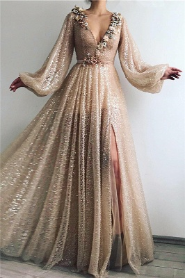 Sparkling Sequins Long Sleeve Prom Dress |  Sexy Slit Long Cheap Evening Dress UK_1
