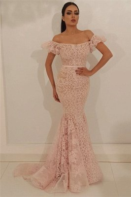 Stylish Off the Shoulder Lace Prom Dress | Cheap Mermaid Sleeveless Long  Evening Dress UK_1