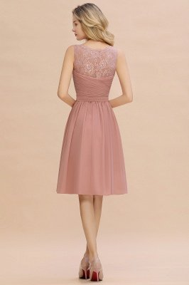 Lace Short Homecoming Dresses with Belt    Sleeveless  Pink Cheap Party Dress UK_10