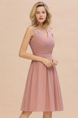 Lace Short Homecoming Dresses with Belt    Sleeveless  Pink Cheap Party Dress UK_9