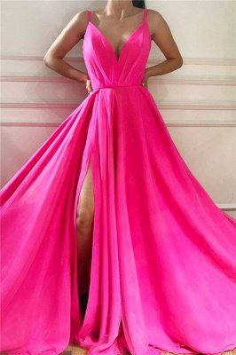 Spaghetti Straps Sleeveless Long Prom Dress | Affordable Sexy Slit Long Pink Evening Dress UK_1