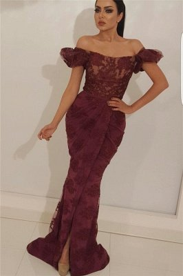 Chic Off the Shoulder Lace Prom Dress | Sexy Mermaid Sexy Slit Long Evening Dress_1