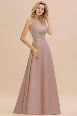 Sparkly Long Evening Dress with Shining Belt | Sexy Sleeveless Pink Formal Dress Cheap_9