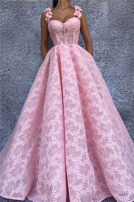 Sexy Lace Sweetheart Pink Prom Dress | Stylish Flower Straps Sleeveless Long Evening Dress UK_1