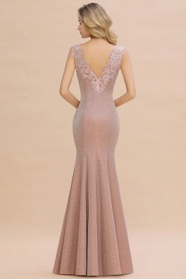Sparkly V-neck Sexy Evening Dress UK | Flowers Sleeveless Pink Floor Length Formal Dresses_17