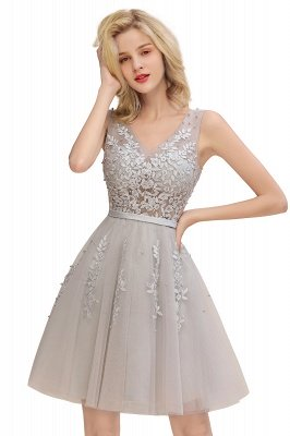 V-neck Lace Homecoming Dresses with Appliques | Cheap Short Party Dresses UK Online_8