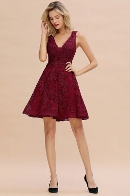 Knee Length Lace Appliques Homecoming Dresses | Burgundy Short Evening Dresses UK_18