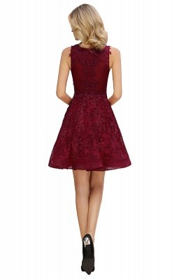 Knee Length Lace Appliques Homecoming Dresses | Burgundy Short Evening Dresses UK_11