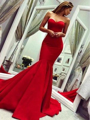 Red Sweetheart Open Back Sexy Evening Dresses UK | Mermaid Cheap Prom Dress Cheap Online_1