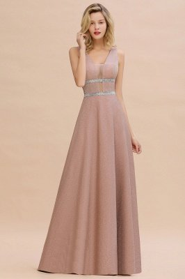 Sparkly Long Evening Dress with Shining Belt | Sexy Sleeveless Pink Formal Dress Cheap_7