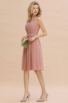 Lace Short Homecoming Dresses with Belt    Sleeveless  Pink Cheap Party Dress UK_13