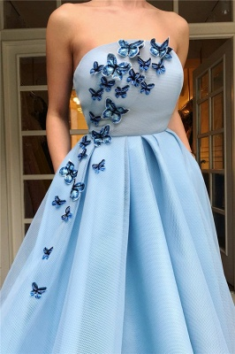 Affordable Strapless Sleeveless Blue Tulle Prom Dress | Stylish Ruffless Long Prom Dress with Butterfly_2