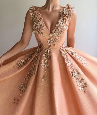 Sparkly Sequins V-Neck Sleeveless Prom Dress | Stylish Appliques Long Affordable Evening Dress UK_2