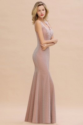 Sparkly V-neck Sexy Evening Dress UK | Flowers Sleeveless Pink Floor Length Formal Dresses_15