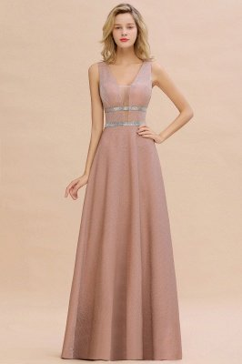 Sparkly Long Evening Dress with Shining Belt | Sexy Sleeveless Pink Formal Dress Cheap_1
