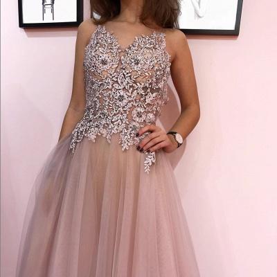 Appliques Beaded Sheer Bodice Evening Dress UK | Sexy Sleeveless Straps Long Prom Dresses_2