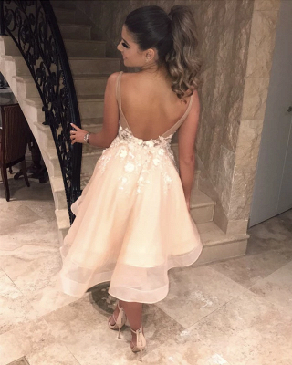 Spaghetti Straps V-Neck Homecoming Dress | Stylish Appliques Flowers  Short Hoco Dress_3