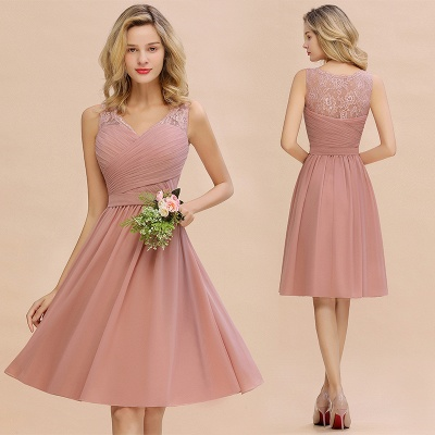 Lace Short Homecoming Dresses with Belt    Sleeveless  Pink Cheap Party Dress UK_14