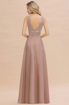 Sparkly Long Evening Dress with Shining Belt | Sexy Sleeveless Pink Formal Dress Cheap_11
