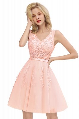 V-neck Lace Homecoming Dresses with Appliques | Cheap Short Party Dresses UK Online_1