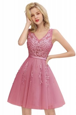 V-neck Lace Homecoming Dresses with Appliques | Cheap Short Party Dresses UK Online_2