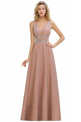 Sparkly Long Evening Dress with Shining Belt | Sexy Sleeveless Pink Formal Dress Cheap_5