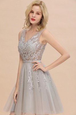V-neck Lace Homecoming Dresses with Appliques | Cheap Short Party Dresses UK Online_13