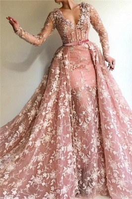 Sheer Tulle Pink Long Sleeve Prom Dress Cheap Online| Sexy Mermaid Appliques Evening Dress UK_1