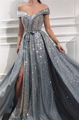 Sparkly Sequins Off the Shoulder Sleeveless Prom Dress | Sweetheart Sexy Slit Shinny Long Evening Dress_1