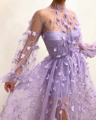 Tulle High Neck Sexy Slit Evening Dress UK Cheap | Stylish Appliques Flowers Long Sleeve Prom Dress_3