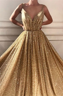 Chic Sequins Spaghetti Straps Cheap Evening Dress | Sparkling V-Neck Sleeveless Gold Prom Dress_2