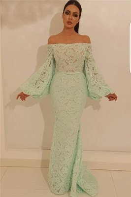 Elegant Mermaid Off the Shoulder Prom Dress | Stylish Lace Long Sleeve Evening Gowns_1