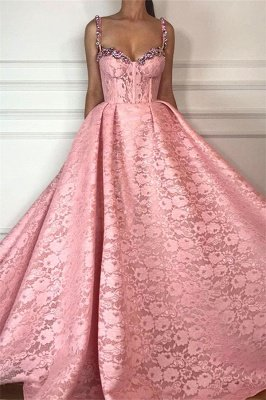 Cheap Ball Gown UK Evening Dress | Gorgeous Pink Lace Beaded Long Prom Dress_1